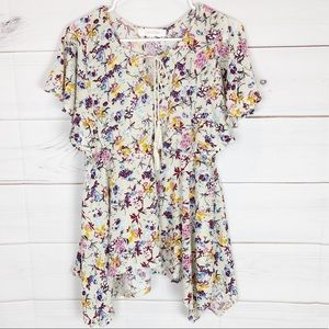 Anthropologie Eden & Olivia Floral tie neck top M